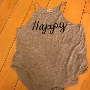 """Woman's gray """"Happy"""" tank"""